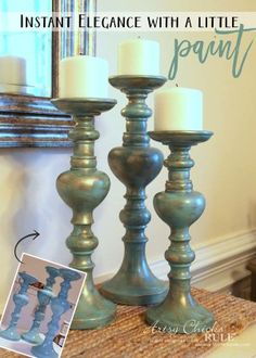Painted Candlesticks - AFTER with paint - artsychicksrule.com