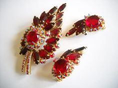 SET Juliana D & E Verified Ruby Red Rhinestones Aurora Borealis Stone Brooch Earrings Flower Climbing Clip On Hollywood Regency Mid Century by FindCharlotte on Etsy