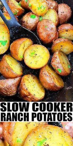 Potato Recipes In Crockpot, Red Potatoes In Crockpot, Recipes For Red Potatoes, Loaded Slow Cooker Potatoes, Ranch Potato Recipes, Crockpot Side Dishes, Delicious Crockpot Recipes, Crock Pot Potatoes, Ranch Potatoes