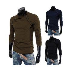 Sale 20% (13.88$) - Mens Casual Slim Fit Long Sleeve Cotton T Shirt