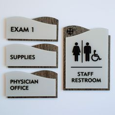ADA Compliant Interior Room Signage. Raised lettering and raster braille with woodgrain backers. Fabricated and installed by signgeek. #signage #wayfinding Stand Design, Booth Design, Design Design, Graphic Design, Hospital Signage, Print Advertising, Advertising Campaign, Print Ads, Ada Signs