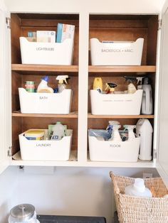 Simple white bins with labels help to identify where everything is. Bonus: they wipe clean. Perfect for cleaning up spills. Simple white bins with labels help to identify where everything is. Bonus: they wipe clean. Perfect for cleaning up spills.