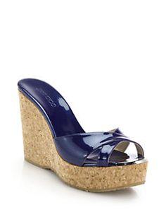 Jimmy Choo - Perfume Metallic Leather & Cork Wedge Mule Sandals