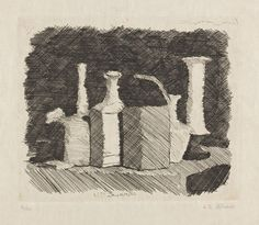 The Italian artist, Giorgio Morandi, whose still life images are noted for their carefully measured studies in subtlety and simplicity, als. Still Life Drawing, Still Life Art, Drawing Sketches, Art Drawings, Pencil Drawings, Intaglio Printmaking, Drawing Course, Observational Drawing, Italian Artist