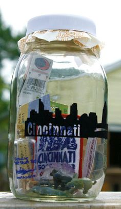 Vacation Jar...filled with all of those little momentos that you bring home from a vacation.