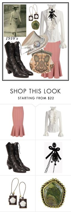"""""""1910's Vintage Style"""" by seus-eky ❤ liked on Polyvore featuring Boohoo, Dsquared2, Poporcelain, Stephen Dweck and vintage"""