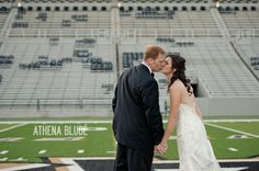 Bride & groom photo at Michie Stadium. This shot would be cute for an Army football player!