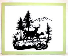 paper sillouettes for Christmas | Tranquil Deer in Woods Scene Hand-cut Paper Silhouette Wall Hanging
