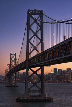 New York Discover Bay Bridge Wall Art San Francisco Oakland California Suspension Bridge Architecture Print New York Wallpaper, City Wallpaper, City Aesthetic, Travel Aesthetic, Purple Aesthetic, Aesthetic Backgrounds, Aesthetic Wallpapers, San Francisco Bridge, Images Esthétiques
