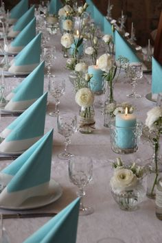 Tiffany blue color fits well with a multitude of colors and looks amazing in wedding decor. Here are some ideas of Tiffany blue wedding decorations. Blue Wedding Decorations, Wedding Centerpieces, Wedding Table, Diy Wedding, Wedding Bride, Christening Table Decorations, Deco Table Champetre, Tiffany Blue Weddings, Tiffany Wedding