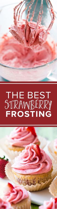 Strawberry frosting made with real freeze-dried strawberries no artificial flavors! Creamy buttercream on http://sallysbakingaddiction.com/2017/02/05/strawberry-frosting/