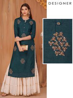 Silk Kurti Designs, Simple Kurta Designs, Sharara Designs, Kurta Designs Women, Kurti Designs Party Wear, Stylish Dress Designs, Designs For Dresses, Latest Kurti Designs, Party Wear Indian Dresses