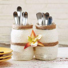 DIY Fiber Wrapped Mason Jars