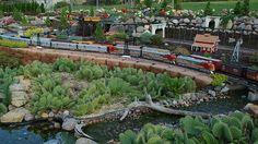 The Railroad Crossing, Garden Railroad Barbie Castle, Garden Railings, N Scale Layouts, Garden Railroad, Model Train Layouts, Unique Gardens, Model Trains, Water Features, Backyard Landscaping