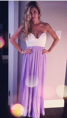 purple sweetheart maxi dress.