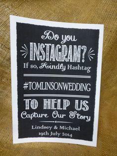 PERSONALISED instagram wedding SIGN chalkboard vintage style PHOTO engagement