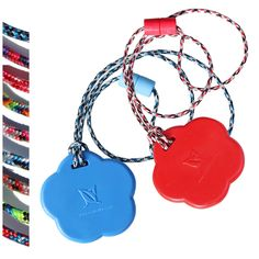 """Blue and Red Flower pendants with your choice of breakaway lanyard style! SAVE  2 color-duo, soft rubber feel FDA compliant materials Economical 1-part shapes More durable than silicone Breakaway paracord lanyards!  FDA compliant, BPA, latex and metal free.Read more in Description below. NOTE: Choose your Breakaway Lanyard style: 1st """"select"""" for the RED, 2nd """"select 2nd"""" for the Blue $15.00 $19.90"""