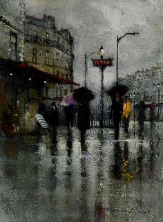 Walking In The Rain, Fine Art, Gallery, Painting, Oil, Frames, Roof Rack, Painting Art, Paintings