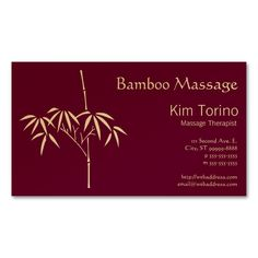 Massage Therapist Japanese Bamboo Double-Sided Standard Business Cards (Pack Of 100). This is a fully customizable business card and available on several paper types for your needs. You can upload your own image or use the image as is. Just click this template to get started!