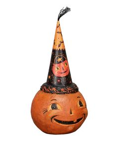 This spook-tacular pumpkin is just the thing to add frighteningly fun flair to Halloween décor. Here, there, it's ready to hang out anywhere!7.25'' HImported