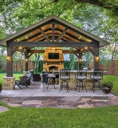 Outdoor Fireplace Patio, Outdoor Kitchen Patio, Outdoor Kitchen Design, Outdoor Rooms, Outdoor Decor, Backyard Pavilion, Outdoor Pavilion, Outdoor Pergola, Living Pool