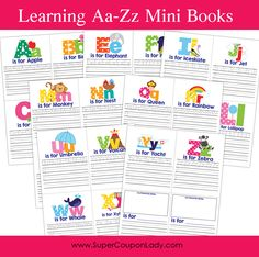 FREE Learning A-Z Mini Books Printable http://www.supercouponlady.com/2014/02/learning-a-z-mini-books.html/