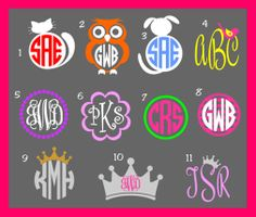 Picture Monogram Decal by AHopSkipandaStitch on Etsy, $14.00