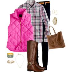 A fashion look from February 2013 featuring long sleeve plaid shirts, quilted puffer vest and skinny leg jeans. Browse and shop related looks.