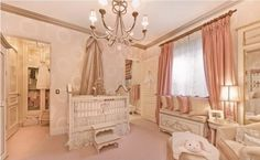 Dr. Phil and his wife built this plush pink space for their first grandkid, Avery Elizabeth. It comes fully decked-out with gilded touches, a cushy window seat, crystal lamps, and a walk-in closet. Not bad for a home away from home!