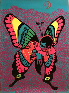 Vintage Psychedelic Blacklight Poster, Love is a Beautiful Butterfly, Butterfly Drawing, Butterfly Painting, Kunst Inspo, Art Inspo, Dope Kunst, Psychadelic Art, Psychedelic Drawings, Trippy Painting, Stoner Art