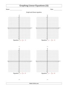 Graph a Linear Equation in Slope-Intercept Form (A) Graphing Linear Inequalities, Graphing Worksheets, Printable Math Worksheets, Free Printable, Addition Worksheets, Math Addition, Algebra Lessons, Linear Programming, Linear Function