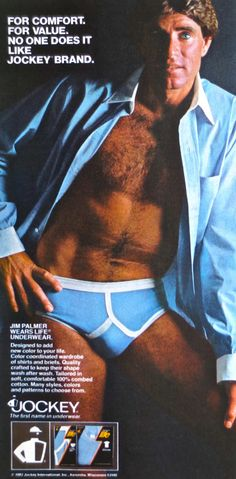 1980 Jockey Original Print Ad-Jim Palmer-Blue Briefs /& Tee-The Denim Look