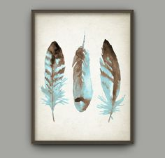Watercolor Feathers Wall Art Print #3 - Modern Home Decor - Tribal Native American Feather Giclee Poster - Watercolour Painting Art