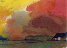 19uå.-Bondegård-under-rød-aftenhimmel.-akvarel.jpg (960×681)
