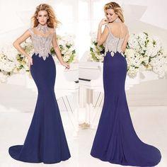Navy Blue Mermaid Evening Gown Dresses