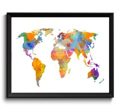 Blue world map watercolor art print printable world map digital world map watercolor art print printable world map digital world map art rainbow gumiabroncs Gallery