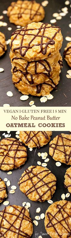 A special recipe No Bake Vegan Peanut Butter Oatmeal Cookies, made of gluten free oat & peanut butter, enriched with coconut oil & coconut milk