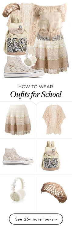 """""""Pure lace"""" by simonemenzanimarin on Polyvore featuring Anna Sui, Cecilia Pradomurion, GUESS by Marciano, Monsoon and Converse"""