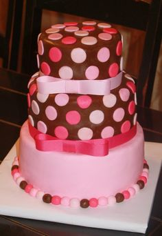 Brown and Pink Cake.