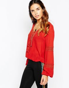 Image 1 ofKiss The Sky Follow The Wind Up Peasant Blouse with Lace Up