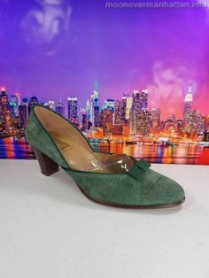 Womens shoes BEENE BAG Green Suede ITALY Vintage ROCKABILLY HIPSTER pumps sz 8 M