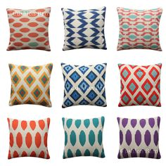 Geometric Arrow Tribal IKAT Coral Blue Yellow Red Cushion Cover Pillow Cover Red Cushion Covers, Cover Pillow, Cushion Pillow, Geometric Arrow, Geometric Cushions, Coral Blue, Ikat, Decorative Pillows, Throw Pillows