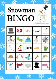 Crazy Little Projects - Making Life Happy Free Printable Snowman Bingo Game Christmas Bingo, Christmas Party Games, Christmas Crafts For Kids, Kids Crafts, Snowman Games, Snowman Party, Schneemann Party, Printable Cards, Printables