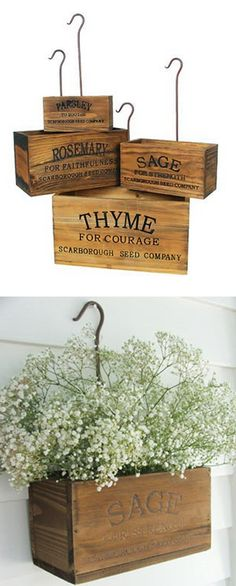 "REALLY WANT IT :: Vintage Style Nesting Herb Crates, Set of 4 :: $39.95 | farmhousewares.com :: Thyme: 13.25""x6.75""x7"", Rosemary: 11.25""x5.5""x6"", Sage: 9""x4.5""x4.75"", Parsley: 7""x3.25""x 3.5""] Distressed wood w/ rustic metal hooks :: SOOO CUTE!! Can used be used in the kitchen, laundry room, potting shed or as a mail organizer. These would be PERFECT in my kitchen to hold my mini orchids!!"