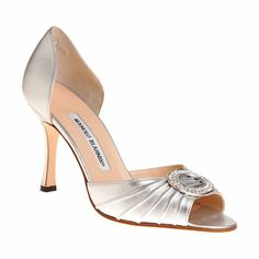 """Satin open toe multi-strap sandal with adjustable posted ankle strap.    3.5"""" heel (90mm)  Leather sole  Available in Silver  Made in Italy  Style # 155027198"""
