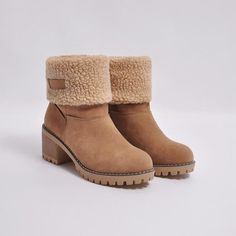Load image into Gallery viewer, Female Winter Shoes Fur Warm Snow Boots Square Heels Ankle Boots Ankle Snow Boots, Warm Snow Boots, High Ankle Boots, Ankle Heels, Snow Boots Women, Winter Boots, Heeled Boots, Ugg Boots, High Heels