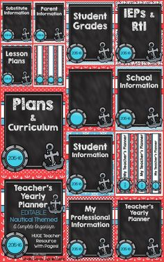 Editable Teacher's Binder - Nautical Themed. HUGE resource FULL of editable pages to get you organized for a wonderful, productive school year!
