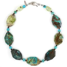 Chrysocolla, Kingman turquoise, green tourmalinated quartz, and mahogany obsidian necklace by Steinen