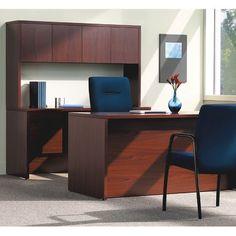 "HON 10500 Series Kneespace Computer Desk Size: 31.25"" H x 74"" W x 26"" D, Finish: Mahogany"