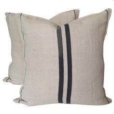 European Grain Sack Pillow : Gray – Sara Kate Studios